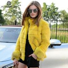 FURSARCAR Real Yellow Mink Fur Coat Women Overwear Winter High Street Vison Genuine Natural Female With Collar