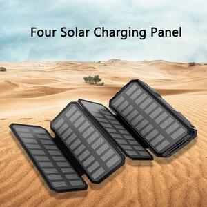 Портативное зарядное устройство на 20000 мАч с солнечной батареей, внешний аккумулятор 2 USB для iPhone 11 pro X Samsung Xiaomi, внешний аккумулятор для телеф...