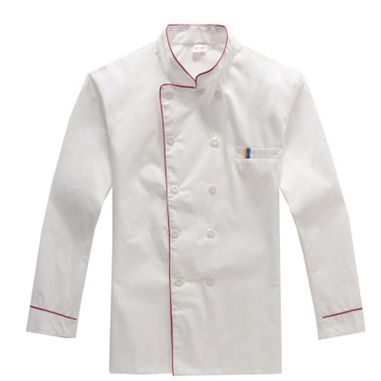 Large Size Chef Uniform Long Sleeve White New Men Women Kitchen Hotel Restaurant Red Blue Edge High Quality Hygroscopic Workwear