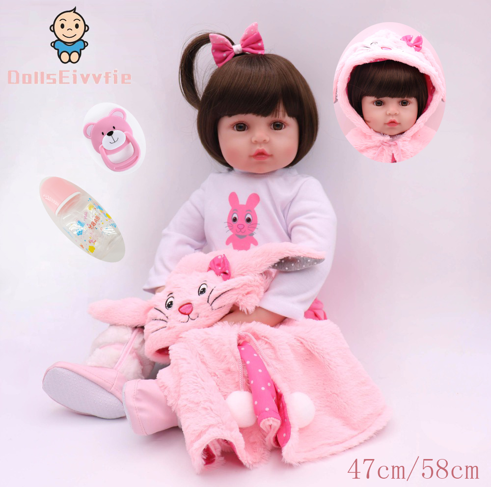 47cm/58cm silicone bebe reborn doll pink cute rabbit costume realistic baby baby gives children the best birthday Christmas gift