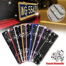 1PCS Russische Auto Europäische Lizenz Platte Rahmen Luxuriöse Kristall 4 Diamant Reihen Anzahl Platte Halter Vorne Hinten Platte