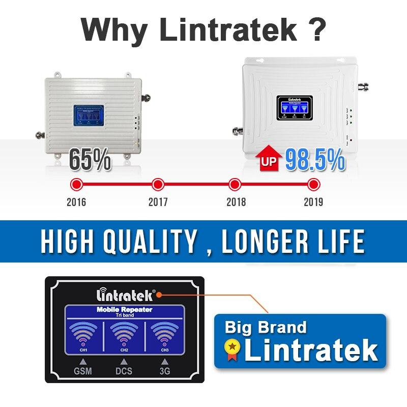 Lintratek 2g 3g 4g Tri banda de señal de 900 de 1800, 2100 GSM WCDMA UMTS y LTE repetidor de celular amplificador Triple banda de señal de teléfono celular de la telefonía móvil repetidor de señal de juego de la antena - 4