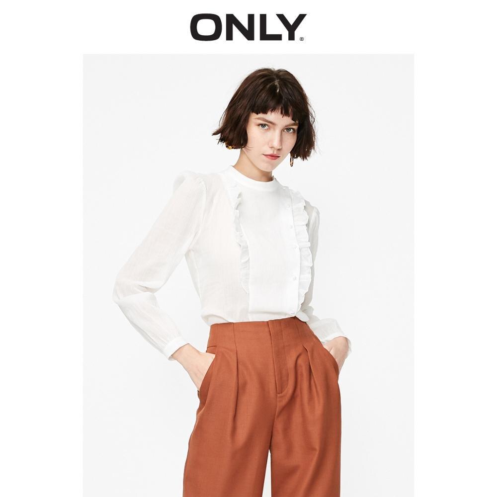 ONLY Women's 100% Cotton Straight Round Neckline Puff Sleeves White Shirt   119105523