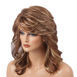 TINY LANA Blend Natural synthetic Hair Wigs Sexy Medium Wavy Brown with Bangs for White Women Imitation Wigs For Female