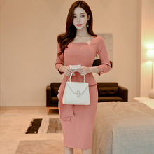 2019 autumn and winter new Slim Korean version of the long section of the waist slimming temperament bottoming dress