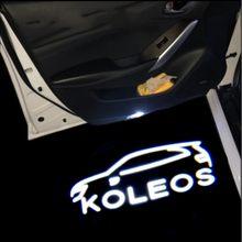 2 sztuk Logo zastosuj KOLEOS (2009-2021) samochodów światło ostrzegawcze LED projektor światło Ghost Shadow witamy światło lampka grzecznościowa