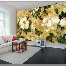 Custom European 3D Wall Murals Vintage nostalgic white rose