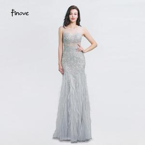 Image 1 - New Arrival Long Evening Dresses 2020 Short Sleeves with Beaded Feather Floor Length Mermaid Prom Dress scoop neck vestid