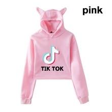 XXS-XXL New Tik Tok Cat Ear Hoodie Women Casual Sports Short Cropped Hoodie Jumper Fashion Long Sleeved Hip Hop Streetwear Tops bow back two tone cat ear hoodie