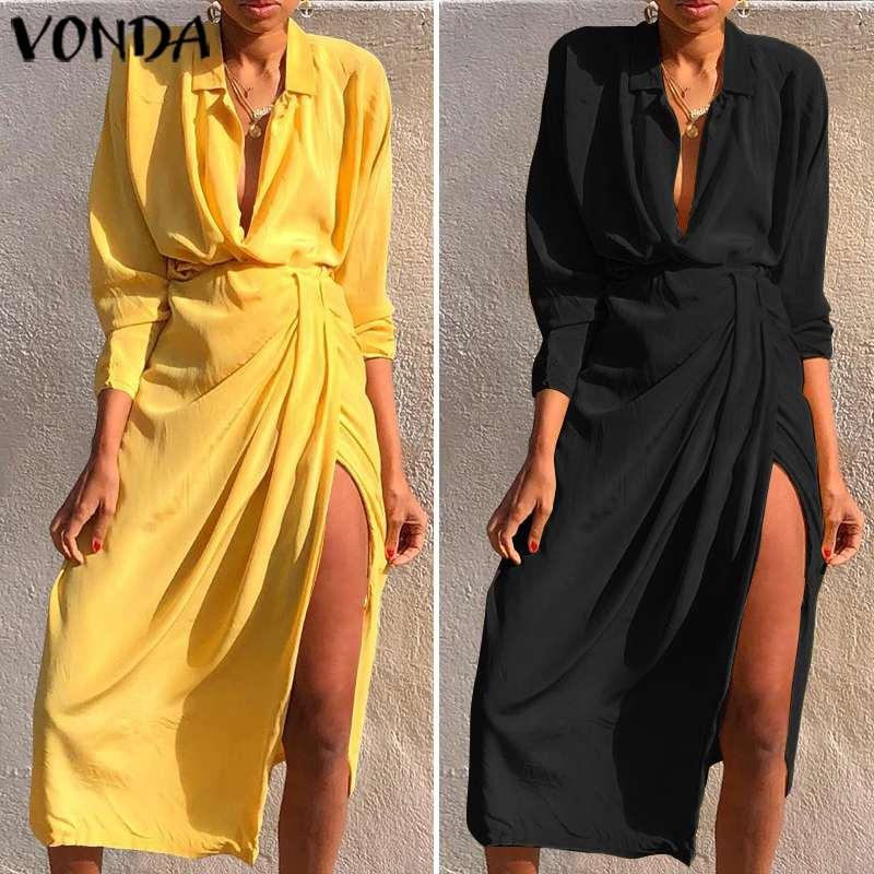 VONDA/платье с длинным рукавом, сексуальные однотонные осенние платья с v-образным вырезом размера плюс, вечерние платья в богемном стиле, пляж...