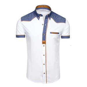 Image 3 - ZOGAA 2019 Zomer Mannen Shirt Casual Patchwork Revers Shirt Mannelijke Korte Mouw Knop Slim Fit Blouse Ademend Kantoor Jurk Shirts