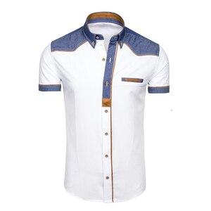 Image 3 - ZOGAA 2019 夏の男性のシャツカジュアルパッチワークラペルシャツ男性半袖ボタンスリムフィットブラウス通気性オフィスドレスシャツ