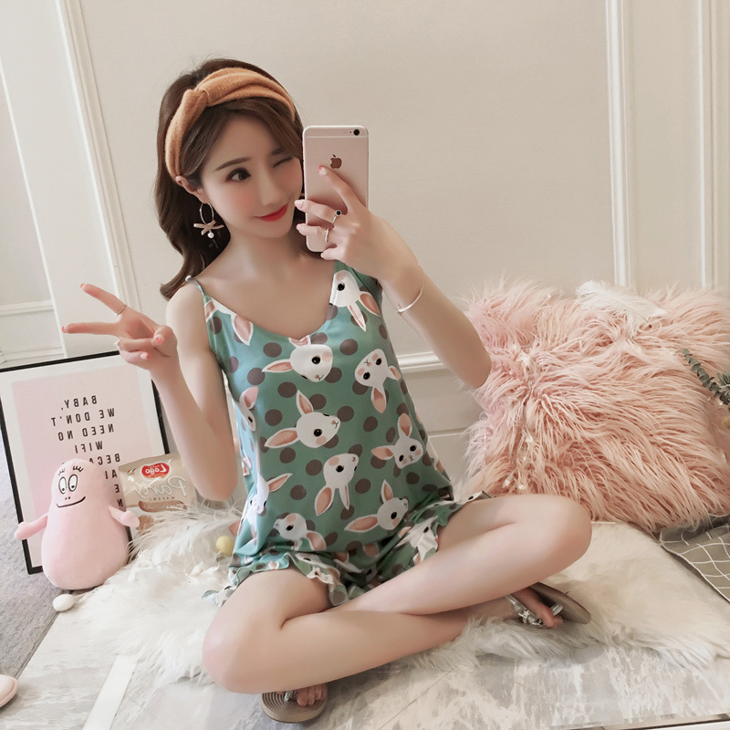 Summer New Products Pajamas Women's Small Clear Green Rabbit Pineapple Camisole Pad High Quality Knitted Cotton Set With Chest P
