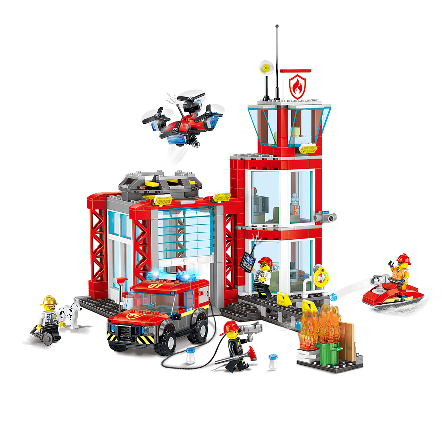 In Stock Legoinglys City Fire Department Building Blocks Bricks Legoinglys Fire Station Classic Model Toys For Child  XMAS GIFT