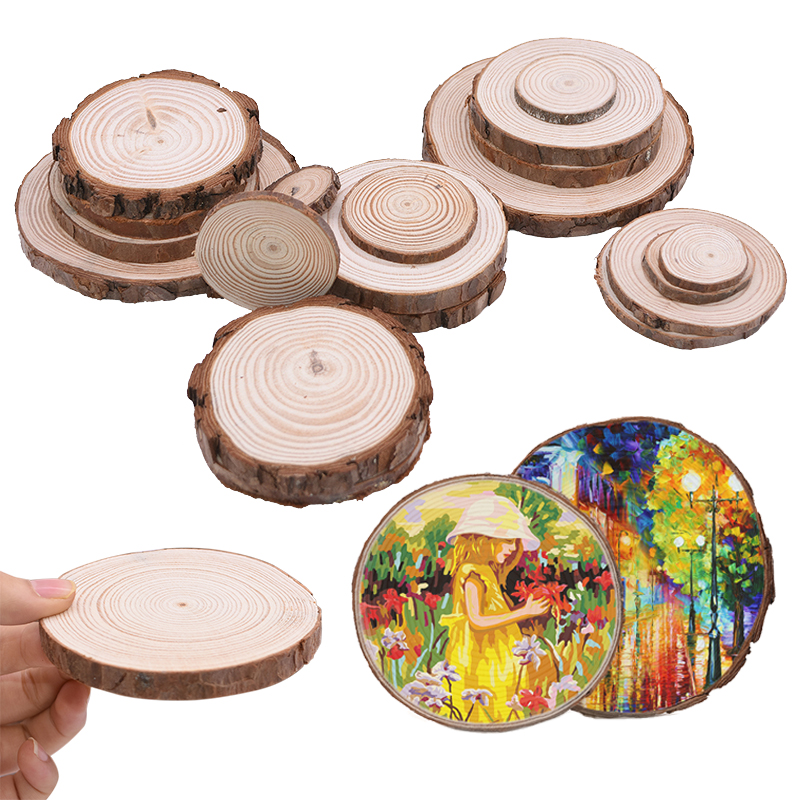 3-12cm 1set Natural Pine Round Unfinished DIY Wood Slices Circles With Tree Log Discs DIY Craft Wedding Party Decoration