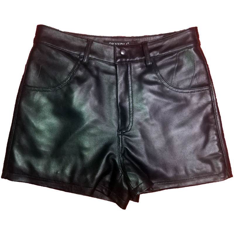Free Shipping,Genuine Leather Women Shorts.fashion Sheepskin Black Short Pants,quality Female Sales Lady Sexy