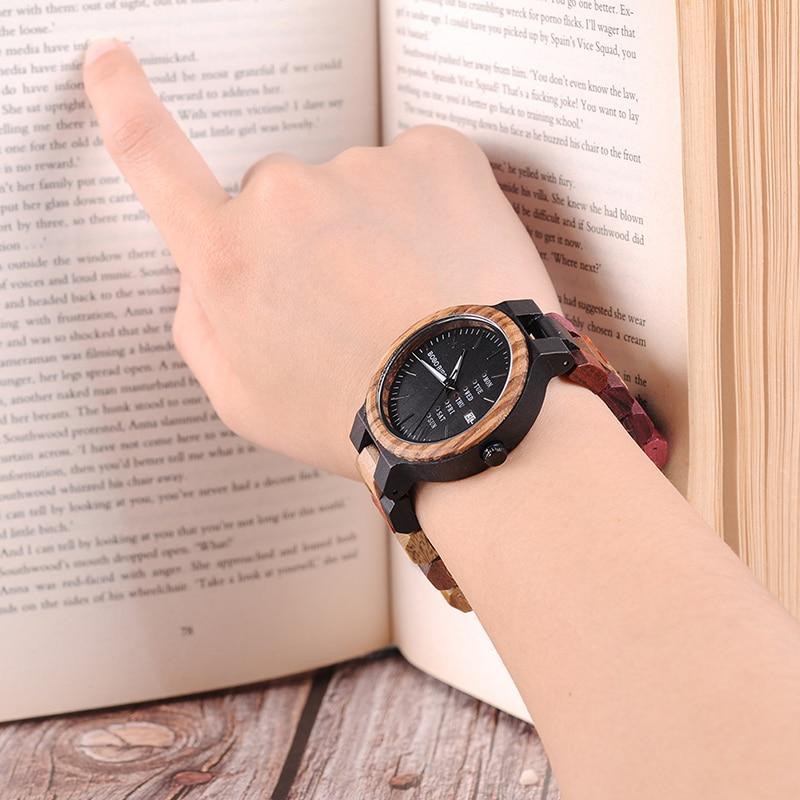 Image 4 - BOBO BIRD P14  Wood Watch Lover Couple Watches Men Women Quartz Week Date Timepiece Colorful Wooden Band logo Customize GitfsLovers Watches   -