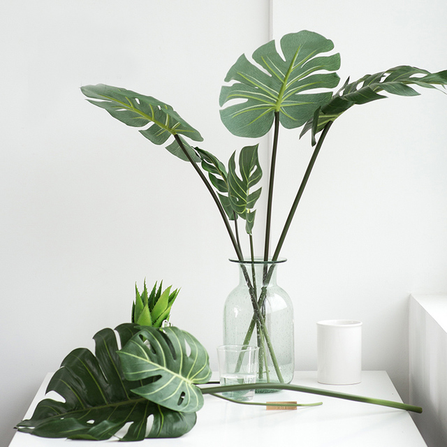 One Piece monstera artificial plants plastic tropical palm tree leaves home garden decoration accessories Photography Decorative 3
