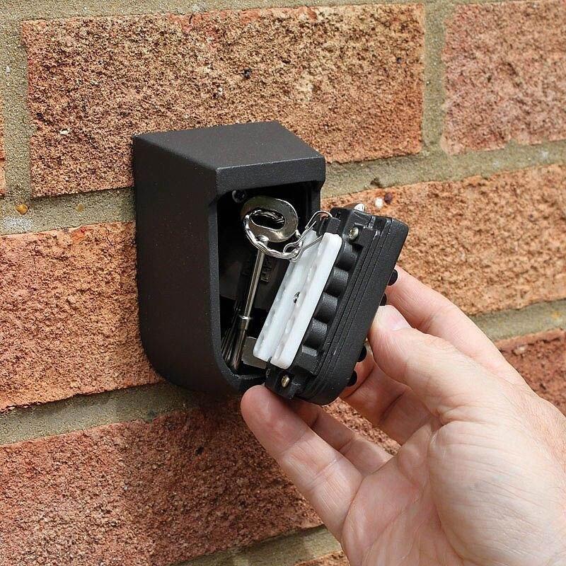 Key Deposit Box Home Wall Mounted Gray Modern Simple Style Aluminium Alloy Thicken Material Anti Prying Burglar Password Box