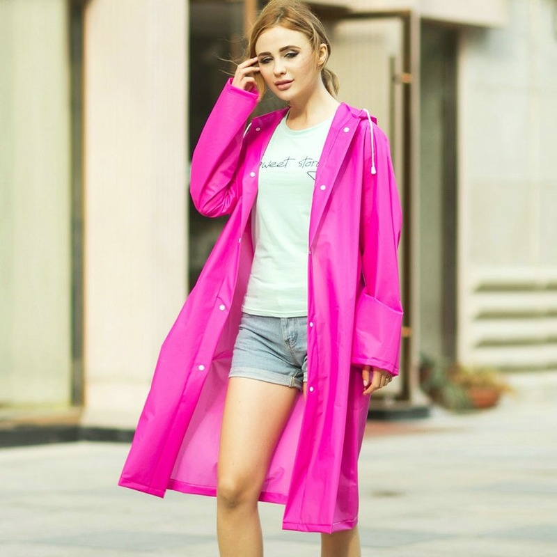 1pc Men's and Women's Fashion Translucent Frosted Thick Eva Raincoat