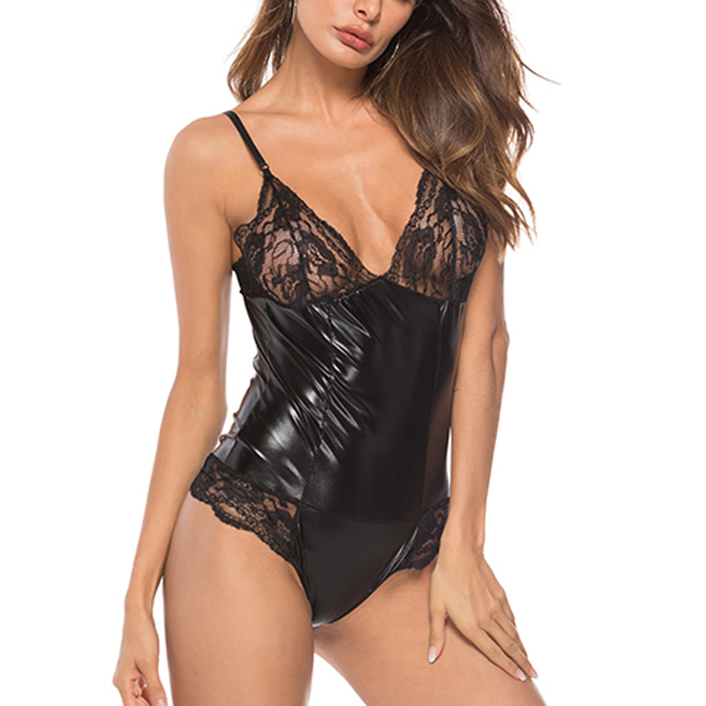 Feminina Erotic Teddy Lingerie Plus Size Lace Leather Sexy Underwear Babydoll Sleepwear Dress Hot Porno Backless Langerie Mujer