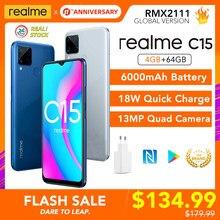 Realme C15 4GB RAM 64GB ROM Globale Version Helio G35 6000mAh Batterie 13MP AI Quad Kameras Multi sprache Play Store