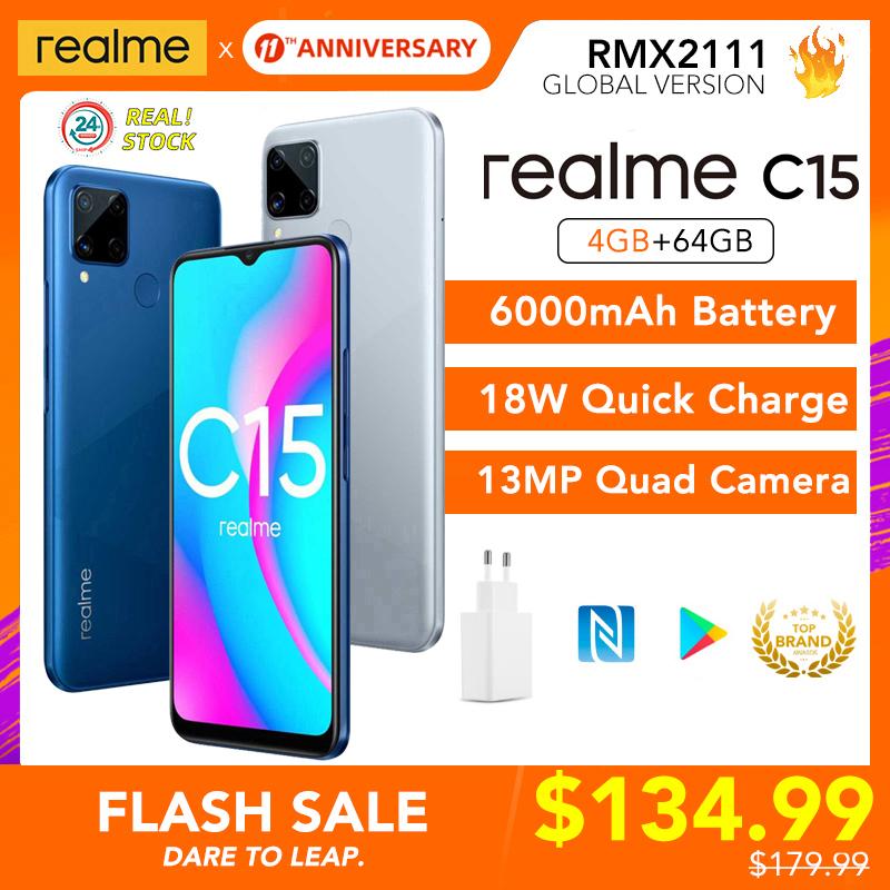 realme C15 Global Version 4GB RAM 64GB ROM 6000mAh Battery Helio G35 13MP Quad Camera