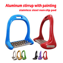 Stirrup-Equipment Horse-Riding Aluminum 1-Pair Pedal Non-Slip-Pad Die-Cast Paint Stainless-Steel