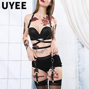 UYEE Sexy 2 PCS Leather Harness Erotic Lingerie Garter Belt Body Sexy Women Harness Bra Sexe Waist Belts Bondage Cage Suspenders