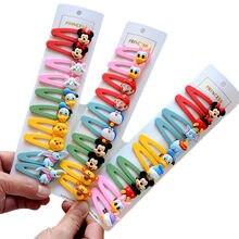 10 pçs disney mickey mouse clipe de cabelo menina dos desenhos animados acessórios para o cabelo hairpin crianças minnie grampo de cabelo