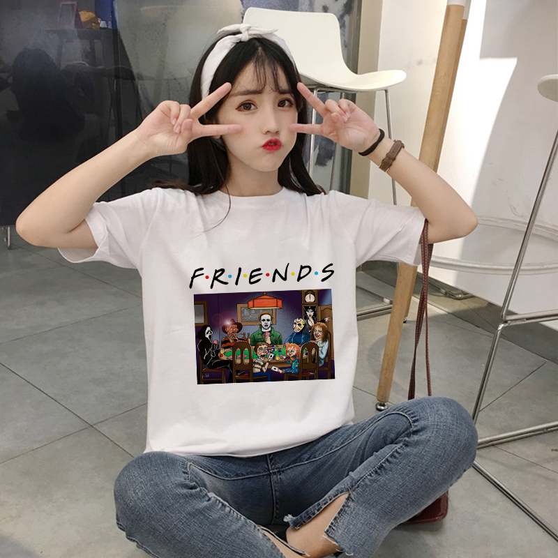 Showtly Terror Villain Friends Movie Play CARDS Picture Hipster O-Neck Short Sleeve Aesthetic Plus Size Graphic Women T Shirts image