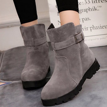 Women's Ankle Boots Winter Plus Size 43-44 Comfortable Suede Leather Boots Women Buckle Strap Snow Boots Woman Rubber цена 2017