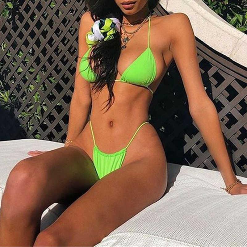 Micro Bikini Wanita 2019 Seksi Thong Brasil Swimsuit Bikini Set Wanita Push Up Baju Renang Wanita Baju Biquini Bak Mandi