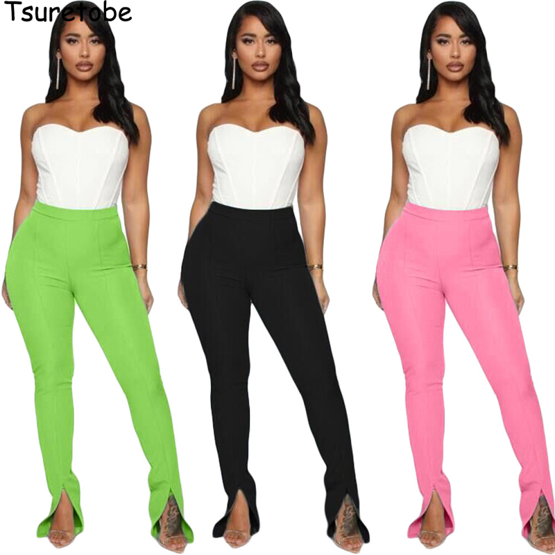 Tsuretobe Split Streetwear Sweatpants Women Clothes 2020 Flare Pants High Waist Bell Bottom Pants Summer Pink Trousers Female