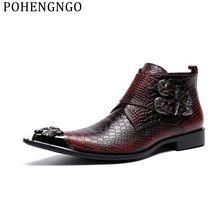 Красные свадебные мужские вечерние ботинки из натуральной кожи; мужские мотоциклетные ботинки с металлическим острым носком; botas hombre; мужские зимние ботинки с двойной пряжкой