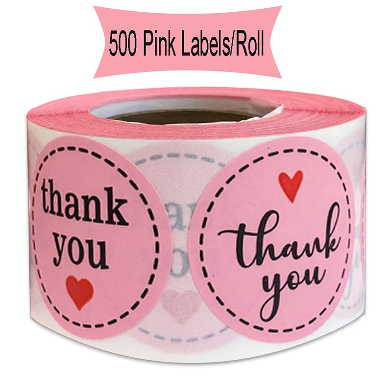 Pink Thank You Sticker 1.5 Inch - 500pcs Cute Label and Card Envelope Seal Mailing Supplies