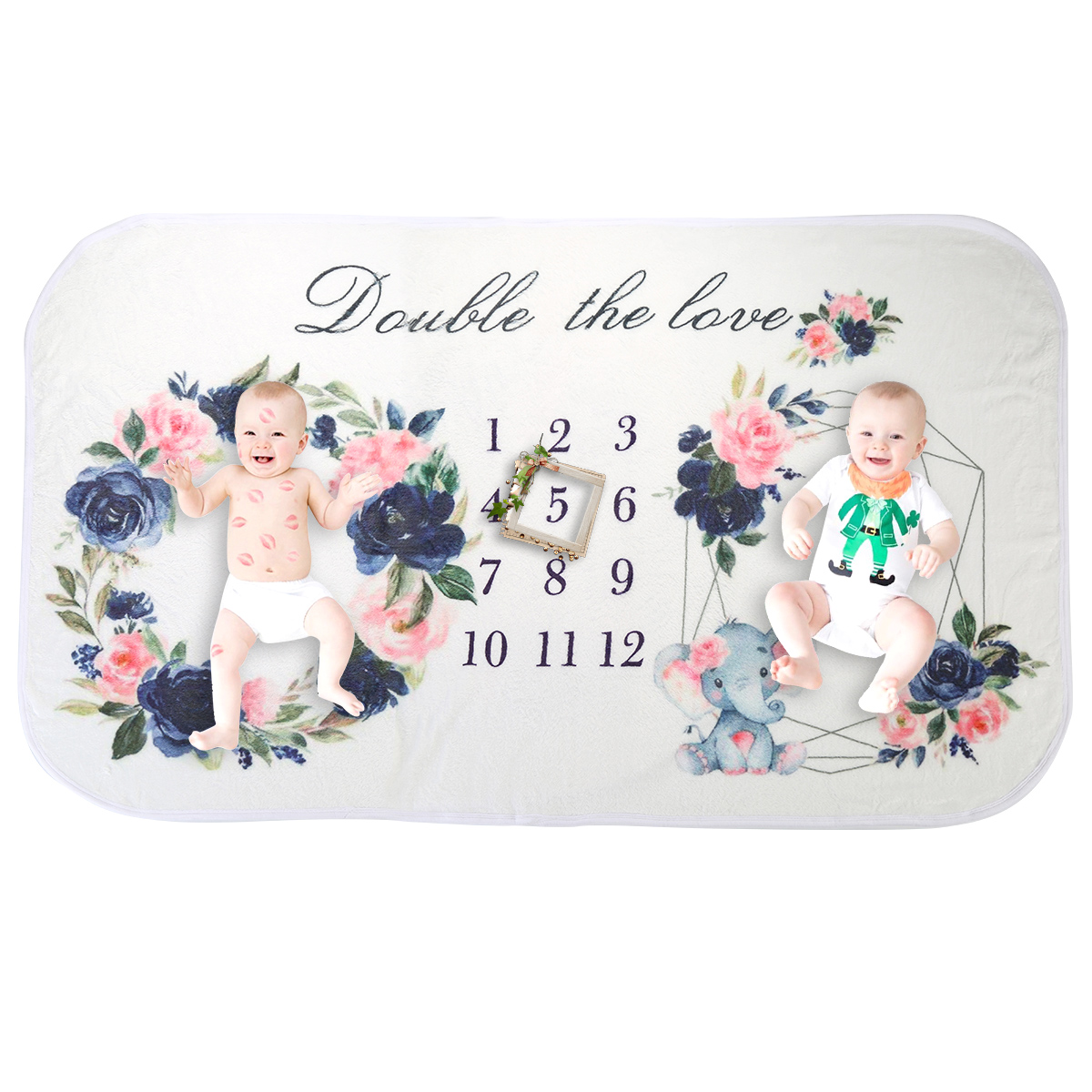 Twins 160cm X90cm Newborn Baby Monthly Growth Milestone Blanket Print Floral Photography Props Background Cloth Commemorate Rug