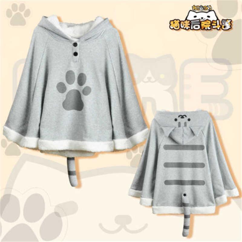 Anime Neko Atsume Cute Cat Backyard Anime Kawaii Warm Cartoon Cloak Sweater Hooded Coat Capes Cosplay Props Christmas Gifts New