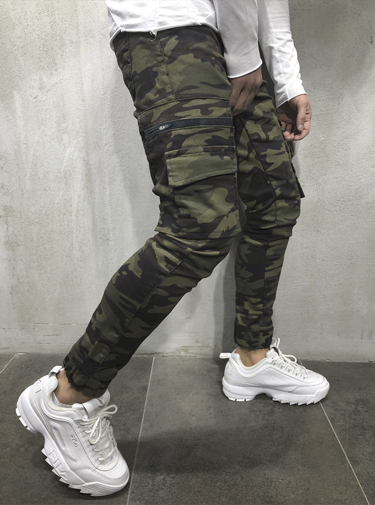 2019 Autumn Winter New Cotton Gyms Zipper Big Packet Embroidery Pants Men Workout Bodybuilding Casual Camouflage Sweatpants
