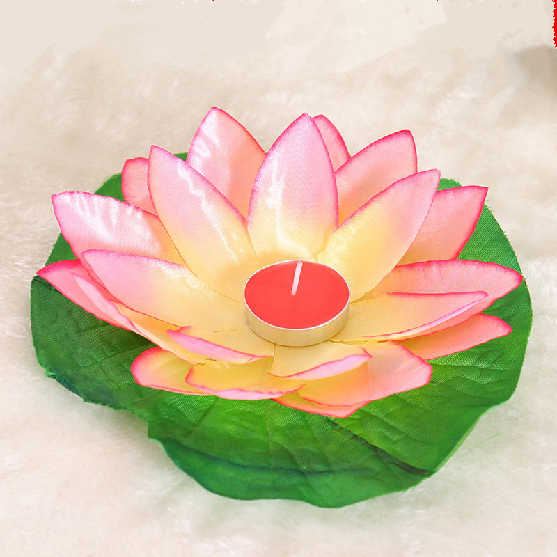 10pcs Multicolor silk lotus lantern light floating candles pool decorations Wishing light birthday wedding party decoration in Candles from Home Garden