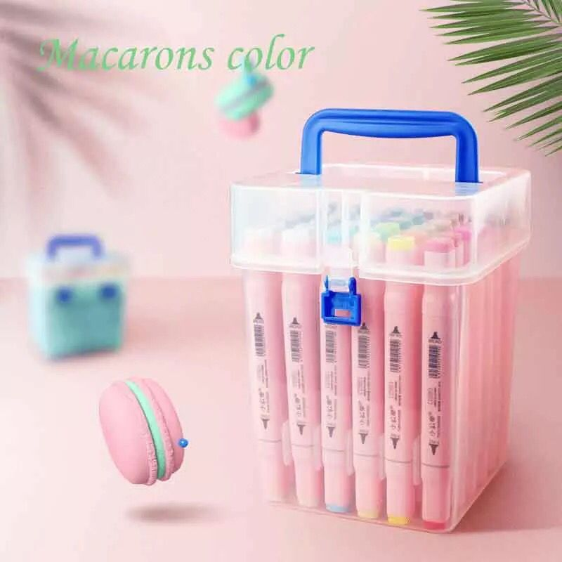 New Macaron Series 24/36/48 color Markers Manga Drawing Markers Pen Alcohol Based Sketch Oily Dual Brush Pen Art Supplies