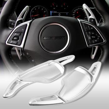 1 para samochodów manetka zmiany biegów w kierownicy rozszerzenie dla Chevrolet Camaro 2016 2017 2018 bezpośrednie Shifter biegów srebrny CNC aluminium tanie i dobre opinie QIYOU CN (pochodzenie) Aluminum Alloy