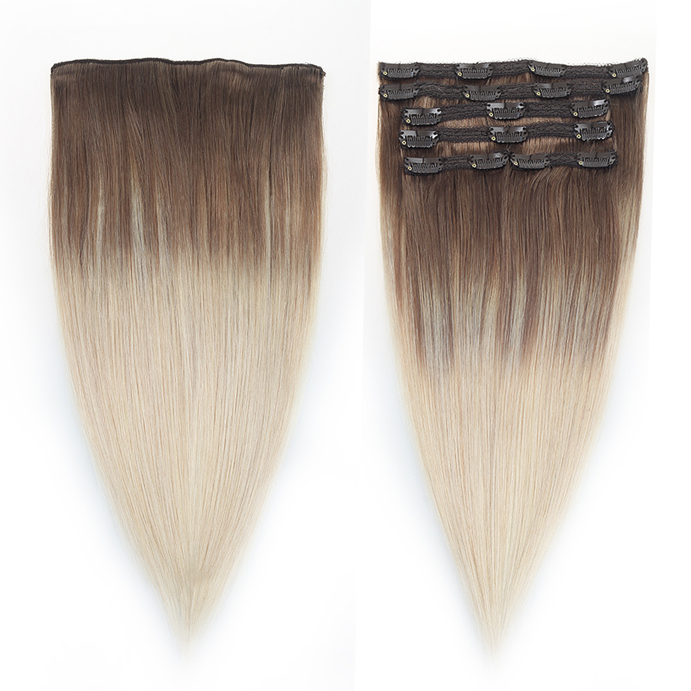 Sindra Machine Made Remy Straight Clip In Human Hair Extensions 100G 120G 100% Human Hair Clips In Hair #8/60 Color