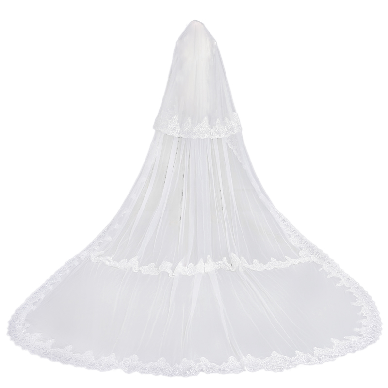 Charming White 3.8 Meters Long Applique Edge Wedding Veils Bridal Accessories Veils