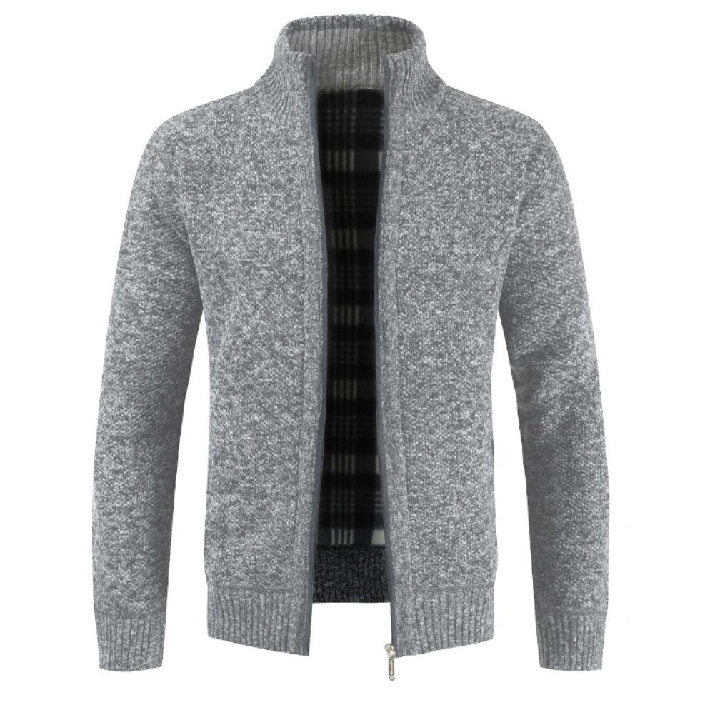 Autumn Winter Men Knitted Sweater Pockets Plush Liner Warm Slim Cardigan Coat Solid Color Men's Clothing 2021 New Fashion
