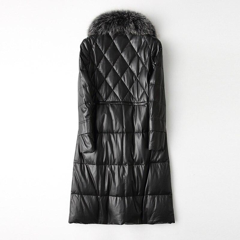 Genuine Leather Jacket Women Winter 90% White Duck Down Jacket Sheepskin Coat For Women Natural Fox Fur Collar Chaqueta Mujer