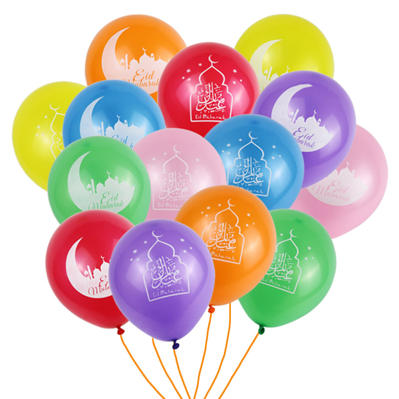 Image 2 - 12pcs/lot happy eid Mubarak latex balloons Muslim Eid Al Fitr  hajj party decoration supplies globos Islamic Ramadan decor baloonParty  DIY Decorations