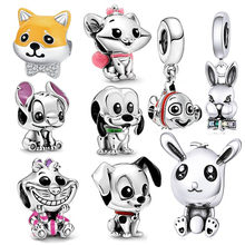 INBEAUT New Popular Rabbit Dog Charms fit Pandora Bracelet 925 Sterling Silver Pink Bowknot Mary Cat Carp Beads for diy Jewerly(China)