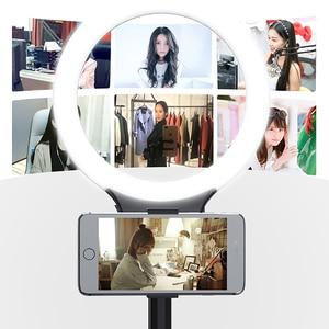 Image 2 - XJ31S anillo de luz LED regulable maquillaje Selfie anillo de luz de relleno giratorio transmisión en directo iluminación fotográfica