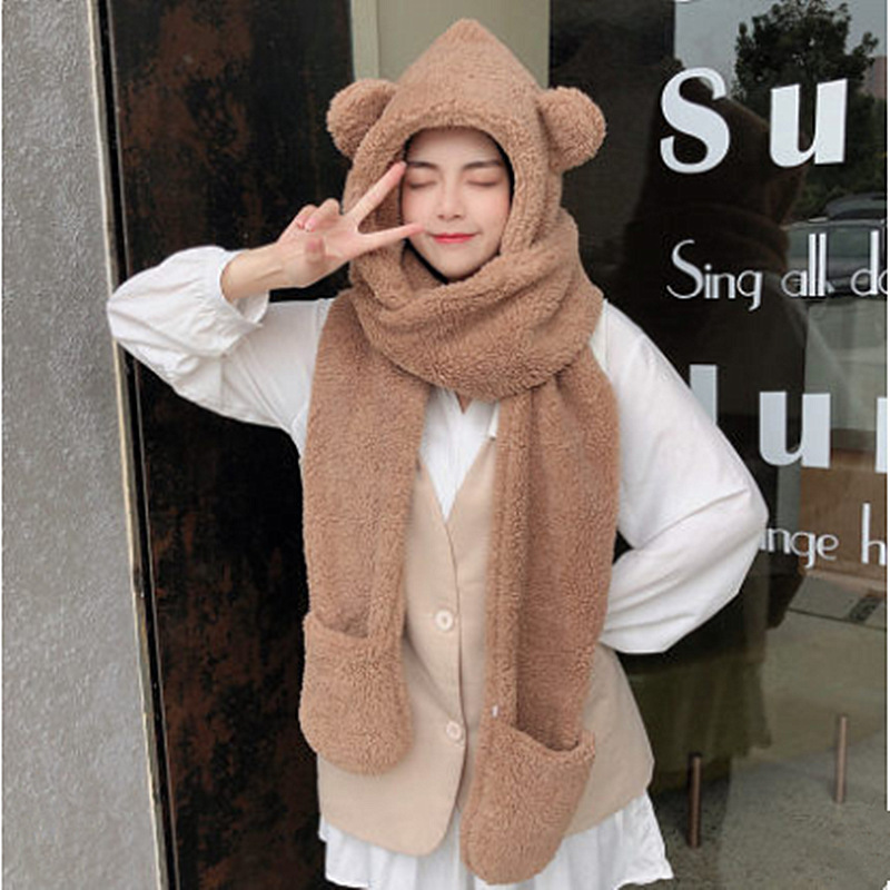 2022 New 3 Pieces Set Women's Knitted Hat Scarf Caps Neck Gloves Winter Hat for Ladies Skullies Beanies Warm Fleece Caps